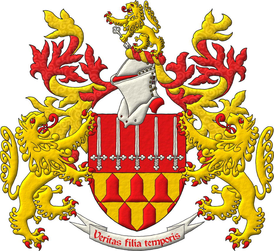 A coat of arms with its crest and 2 supports