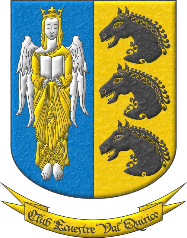 Party per pale 1 Azure, an Angel Argent, crowned, crined and vested Or holding an open Book Argent; 2 Or, three Horse's heads Sable, couped, in pale. Motto «Club Ecuestre Val'Quirico».