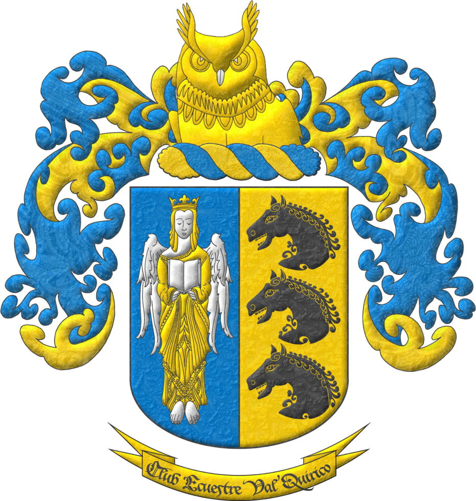 Party per pale 1 Azure, an Angel Argent, crowned, crined and vested Or holding an open Book Argent; 2 Or, three Horse's heads Sable, couped, in pale. Crest Upon a Wreath Or and Azur, an Owl's head couped at the shoulders Or and beaked Argent. Mantling Azur doubled Or.. Motto «Club Ecuestre Val'Quirico».