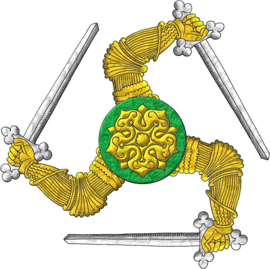 Insignia, 3 brazos diestros, armados de oro, unidos por sus hombros en el centro, los codos doblados, teniendo 3 espadas de plata, dispuestas en triángulo, y brochante sobre el todo, un roel de sinople, cargado con una rosa de oro.