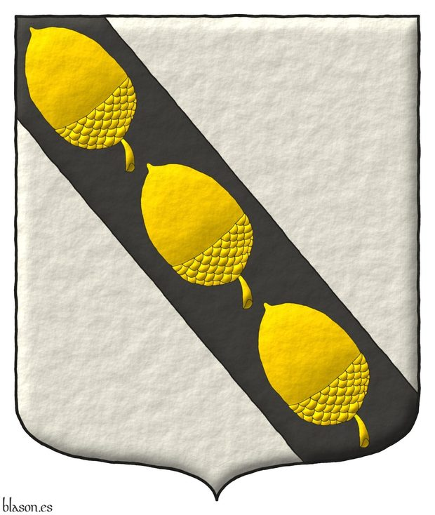 Argent, on a Bend Sable three Acorns Or.