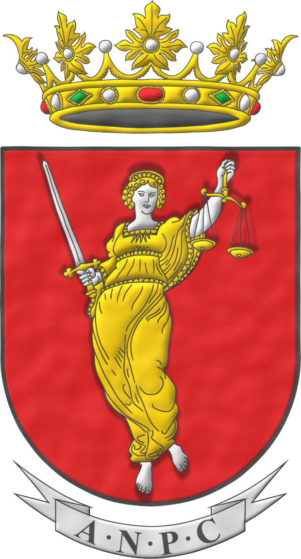 Escudo de gules, una Justicia de plata, vestida de oro, en su diestra una espada de plata, alzada, guarnecida de oro y en su siniestra una balanza de oro. Timbrado de corona real abierta. Divisa: «ANPC».