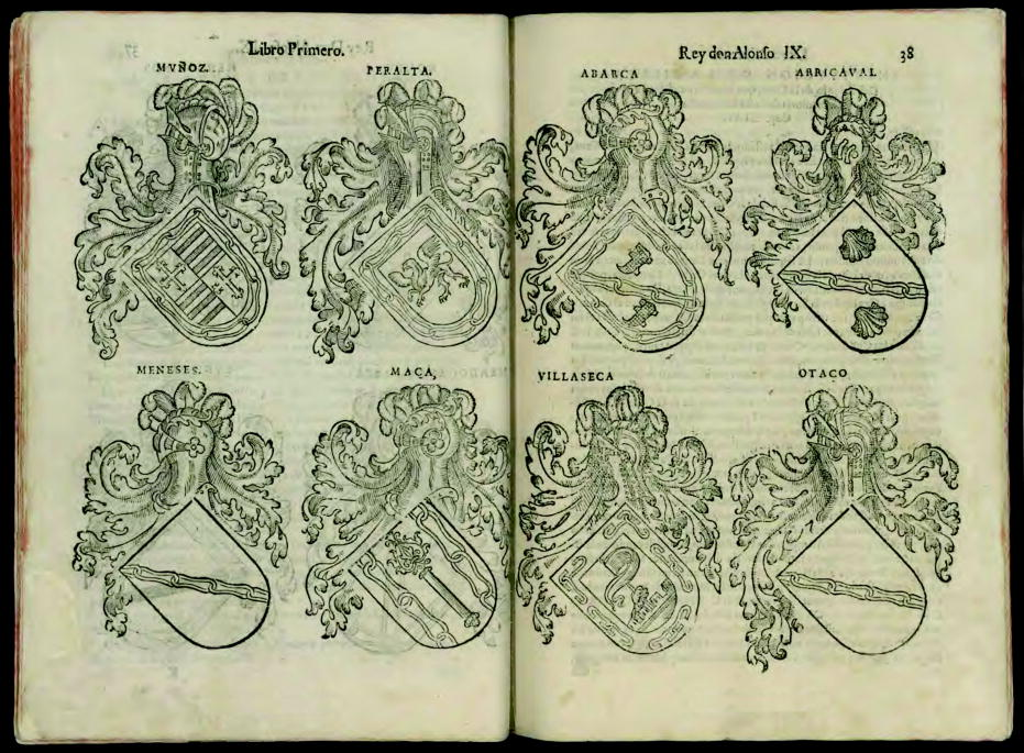 Argote de Molina, First Book, page 38, 8 coat of arms.