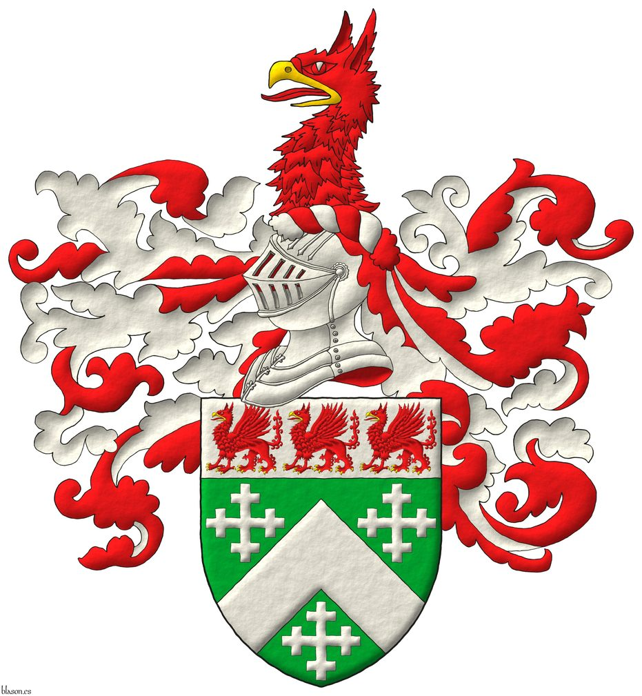 Vert, a chevron, between three cross-crosslets; on a chief Argent, three griffins statant Gules, beaked and armed Or. Crest: Upon a helm, with a wreath Argent and Gules, a griffin's head couped Gules, beaked Or. Mantling: Gules doubled Argent.