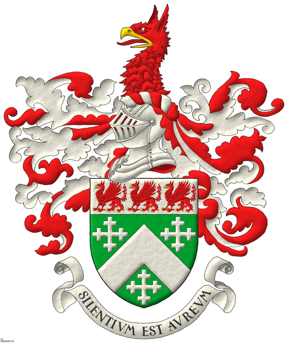 Vert, a chevron, between three cross-crosslets; on a chief Argent, three griffins statant Gules, beaked and armed Or. Crest: Upon a helm, with a wreath Argent and Gules, a griffin's head couped Gules, beaked Or. Mantling: Gules doubled Argent. Motto: «Silentium est aureum».