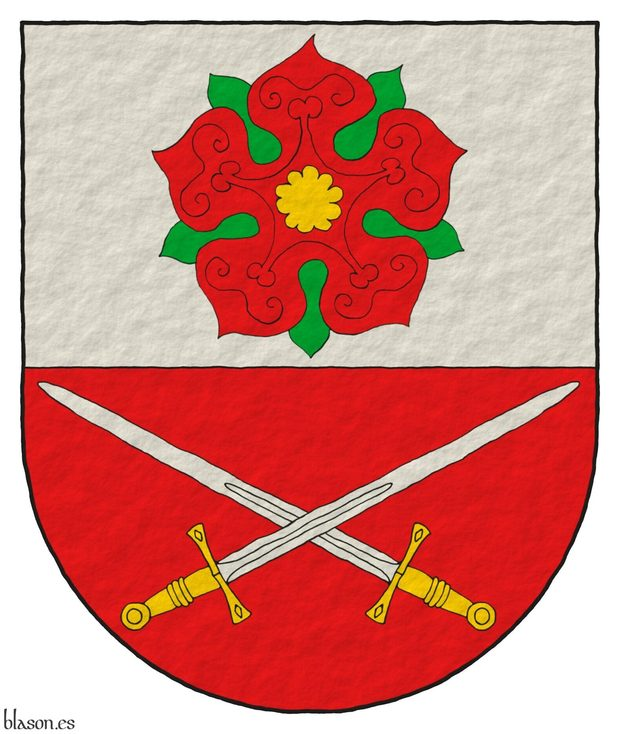 Party per fess: 1 Argent, a rose Gules, barbed and seeded proper; 2 Gules, two swords in saltire Argent, hilted Or.