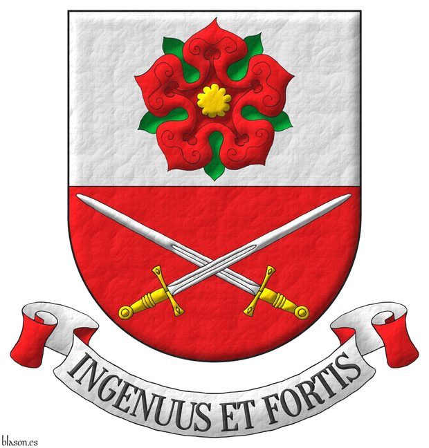 Party per fess: 1 Argent, a rose Gules, barbed and seeded proper; 2 Gules, two swords in saltire Argent, hilted Or. Motto: «Ingenuus et fortis».