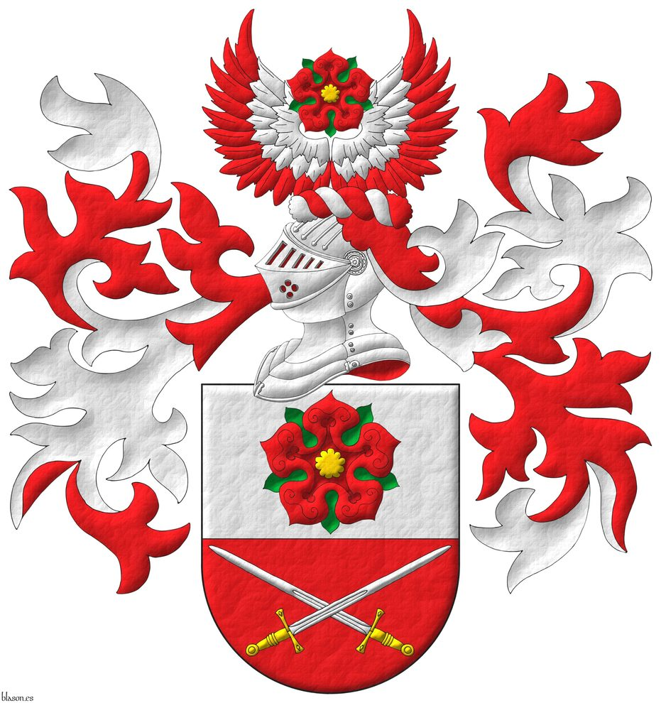 Party per fess: 1 Argent, a rose Gules, barbed and seeded proper; 2 Gules, two swords in saltire Argent, hilted Or. Crest: Upon a helm, with a wreath Argent and Gules, on two wings in vol Gules, their coverts Argent, a rose Gules, barbed and seeded proper. Mantling: Gules doubled Argent.