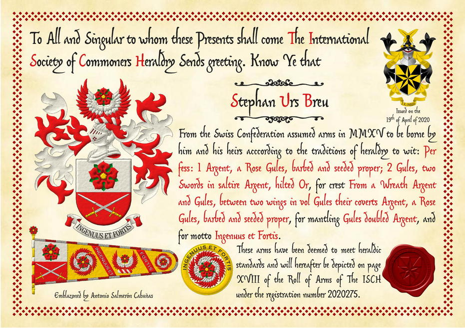 Party per fess: 1 Argent, a rose Gules, barbed and seeded proper; 2 Gules, two swords in saltire Argent, hilted Or. Crest: Upon a helm, with a wreath Argent and Gules, on two wings in vol Gules, their coverts Argent, a rose Gules, barbed and seeded proper. Mantling: Gules doubled Argent. Motto: «Ingenuus et fortis».