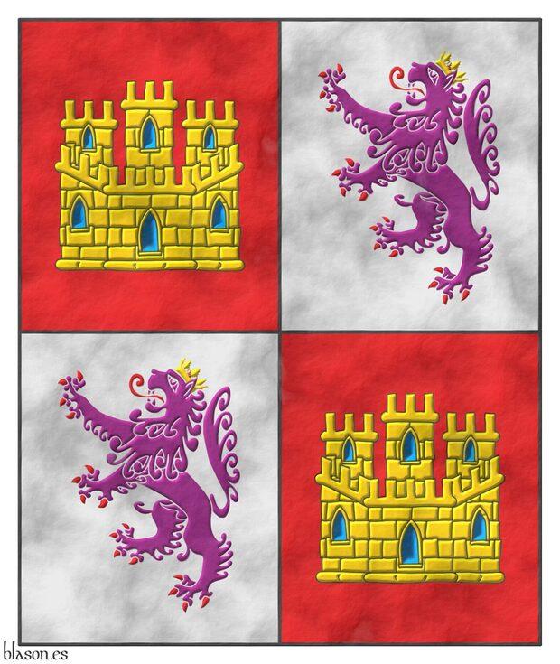 Estandarte de Castilla y León. Castilla y León sobre pergaminio ... 258b9cc87a8e