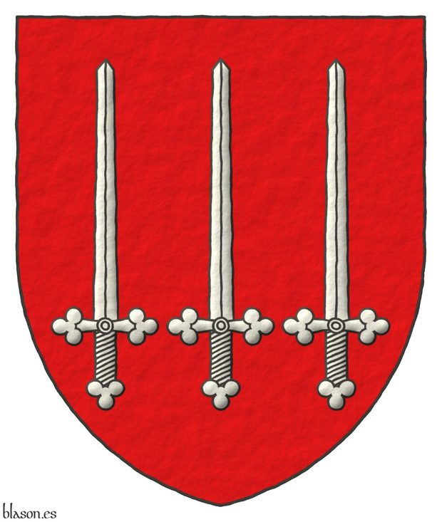 Gules, three Swords Argent, erect, in fess.