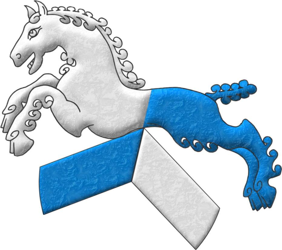 Insignia: Un cabrio partido, 1o de azur y 2o de plata, sumado de un caballo saltante y partido, 1o de plata y 2o de azur.