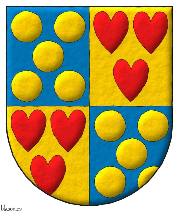 Quarterly: 1 and 4 Azure, five Bezants in saltire; 2 and 3 Or, three hearts Gules ordered.