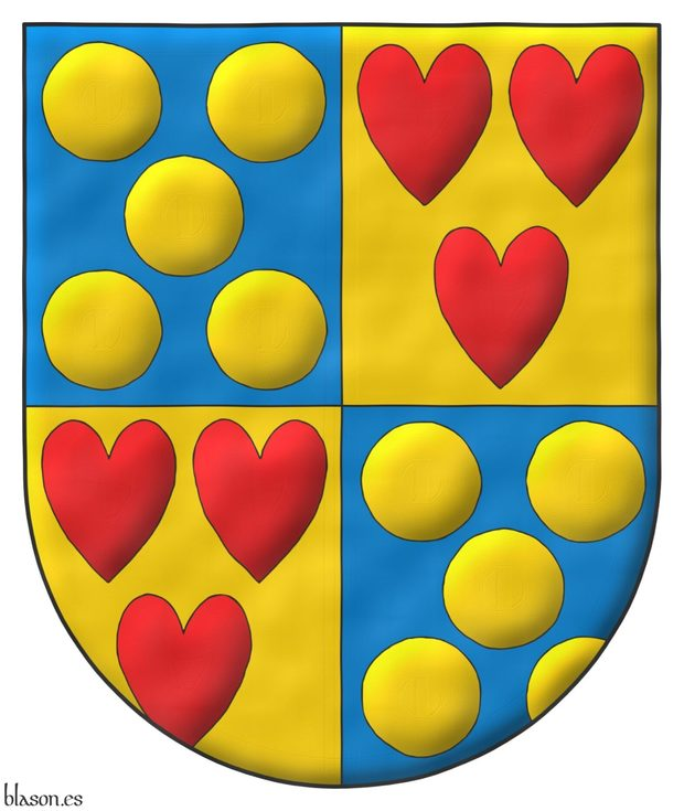 Quarterly: 1 and 4 Azur, five Bezants in saltire; 2 and 3 Or, three hearts Gules ordered.