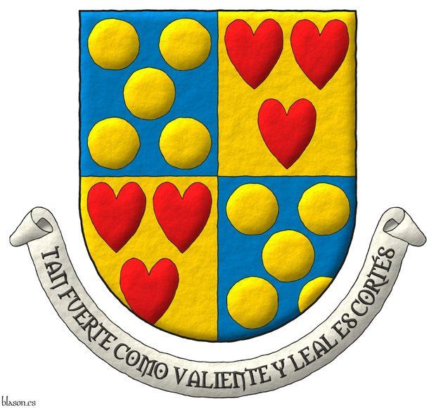 Escudo cuartelado: 1o y 4o de azur, cinco bezantes de oro en sotuer; 2o y 3o de oro, tres corazones de gules ordenados. Lema: «Tan fuerte como valiente y leal es Cortés».