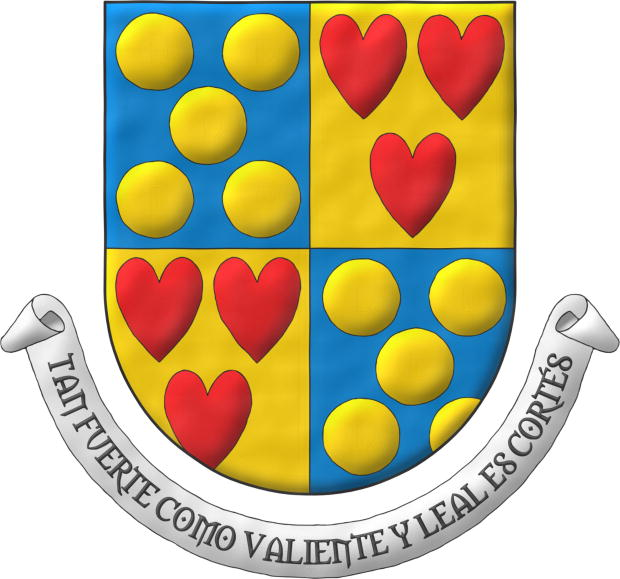 Quarterly: 1 and 4 Azur, five Bezants in saltire; 2 and 3 Or, three hearts Gules ordered. Motto: «Tan fuerte como valiente y leal es Cortés».