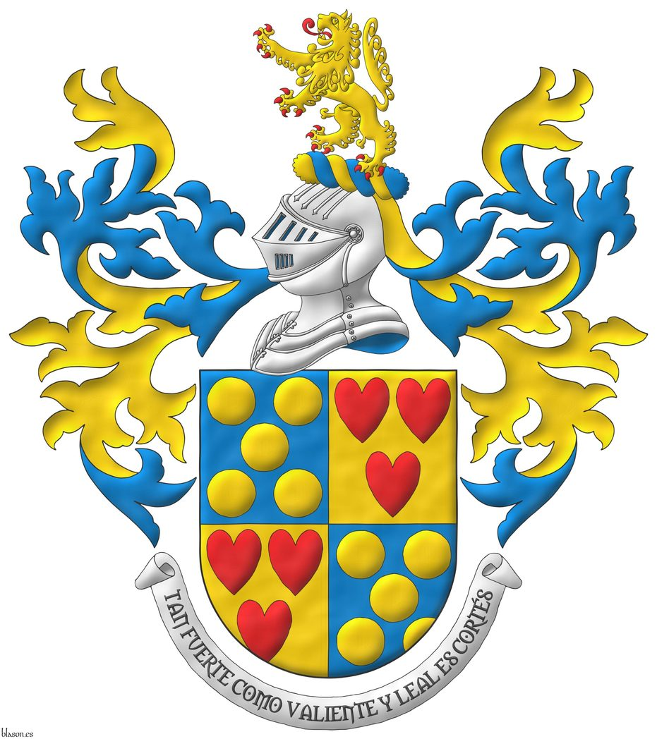 Quarterly: 1 and 4 Azur, five Bezants in saltire; 2 and 3 Or, three hearts Gules ordered. Crest: Upon a Helm Argent with a Wreath Or and Azure a Lion Or, rampantant, langued and armed Gules. Mantling: Azure doubled Or. Motto: «Tan fuerte como valiente y leal es Cortés».