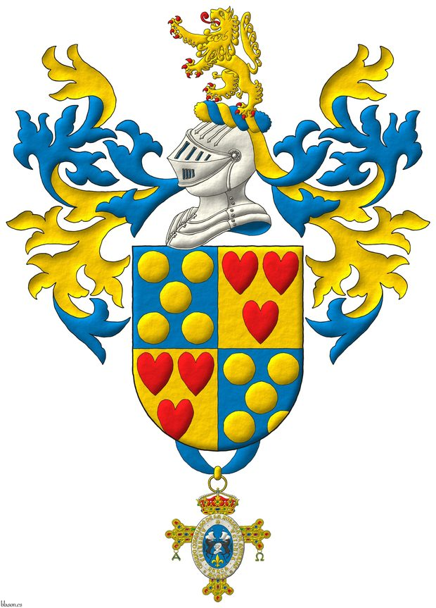 Quarterly: 1 and 4 Azur, five Bezants in saltire; 2 and 3 Or, three hearts Gules ordered. Crest: Upon a Helm Argent with a Wreath Or and Azure a Lion Or, rampantant, langued and armed Gules. Mantling: Azure doubled Or. Suspended from the base the insignia of the Cuerpo de la Nobleza del Principado de Asturias.