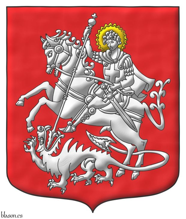Gules, a Saint George nimbed Or, riding a Horse trampling upon a crawling Dragon, Argent.