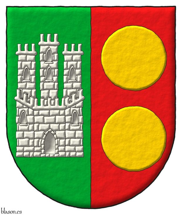Party per pale: 1 Vert, a Castle triple-towered Argent; 2 Gules, two bezants in pale Or.