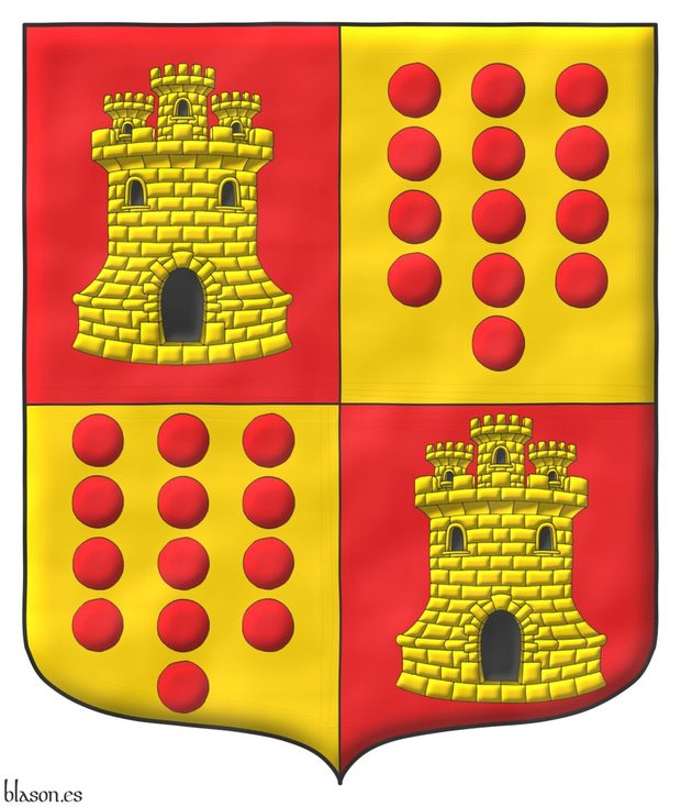 Quarterly: 1 and 4 Gules, a Castle triple towered Or, port, windows and masoned Sable; 2 and 3 Or, thirteen Torteaus, three, three, three, three, and one.
