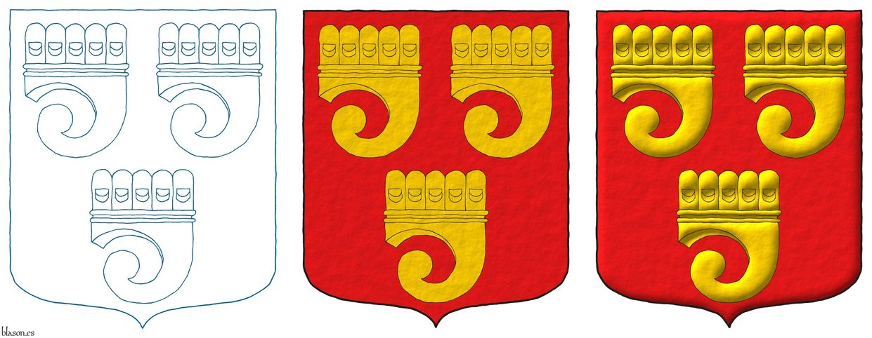 Gules, three Clarions Or.