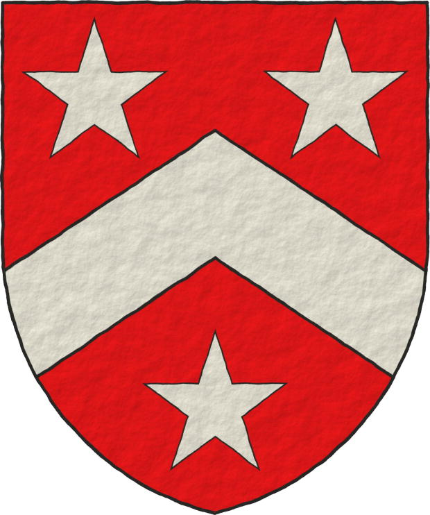 Gules, a Chevron Argent between three Mullets Argent.