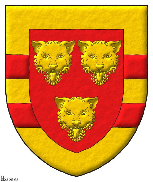 Gules, three Leopards faces Or, the whole within a Border Or with two Bars Gules.