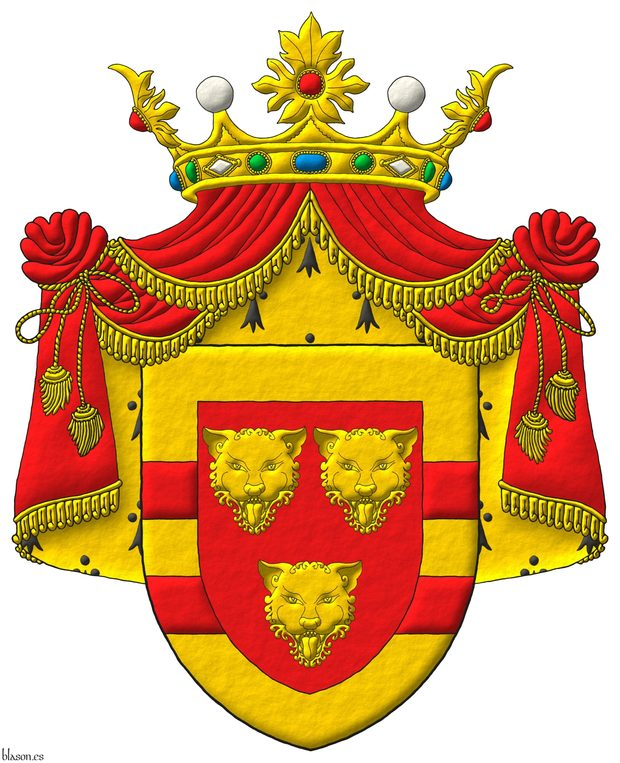 Gules, three Leopards faces Or, the whole within a Border Or with two Bars Gules. Crest: A crest coronet proper. Mantle: Gules doubled Erminois.