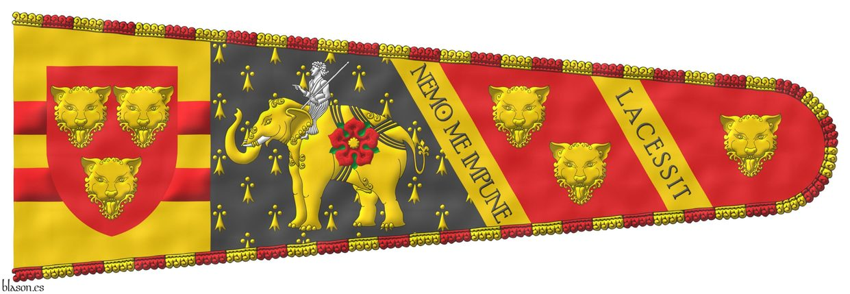 In the hoist the arms of Rudolph Andries Ulrich Juchter van Bergen Quast and in the fly pean, Gules and Gules, between two transverse bands Or, bearing the motto «Nemo me impune lacessit» in letters Sable, in the first compartment an Indian elephant statant Or, armed Argent, strapped over the belly, hump and rump Sable, cottised Or, charged on his left flank with a rose Gules, barbed Vert, seeded Or; seated on his neck a mahout, in his sinister hand a stick in bend sinister Argent; in the second compartment two leopard faces Or; in the third compartment a leopard face Or; and fringed compony Gules and Or.