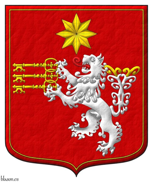 Sanguine, a lion rampant, double queued Argent, tufted Or and langued Gules holding in its paws by the bows three keys fesswise bows interlaced wards to dexter facing downwards Or and in chief a mullet of eight points Or; all within a tressure Or
