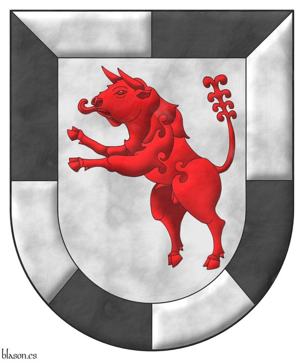 Argent, a Bull salient Gules within a compony Bordure Argent and Sable.