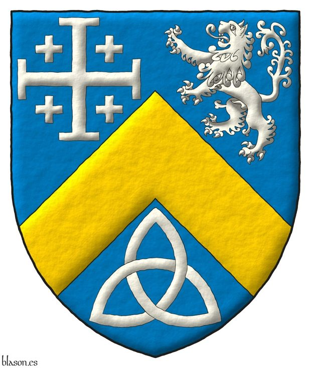 Azure, a chevron Or, between in chief a cross potent cantoned of crosslets, and a lion rampant, and in base a Celtic Trinity knot Argent.
