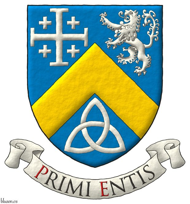 Azure, a chevron Or, between in chief a cross potent cantoned of crosslets, and a lion rampant, and in base a Celtic Trinity knot Argent. Motto: «Primi entis» Sable, with initial letters Gules, over a scroll Argent.