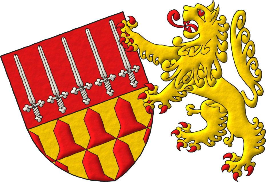 Escudo cortado: 1o de gules, cinco espadas de plata, alzadas, en faja; 2o verado de oro y gules. Soporte: Un león de oro, rampante, armado, lampasado, fierezado y encendido de gules a la siniestra.