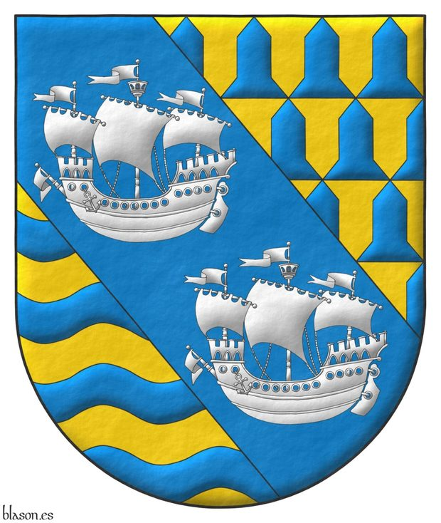 Tierced per bend: 1 vairy Or and Azure; 2 Azure, two Ships in full sail, in bend, Argent; 3 Or, four bars wavy Azure.