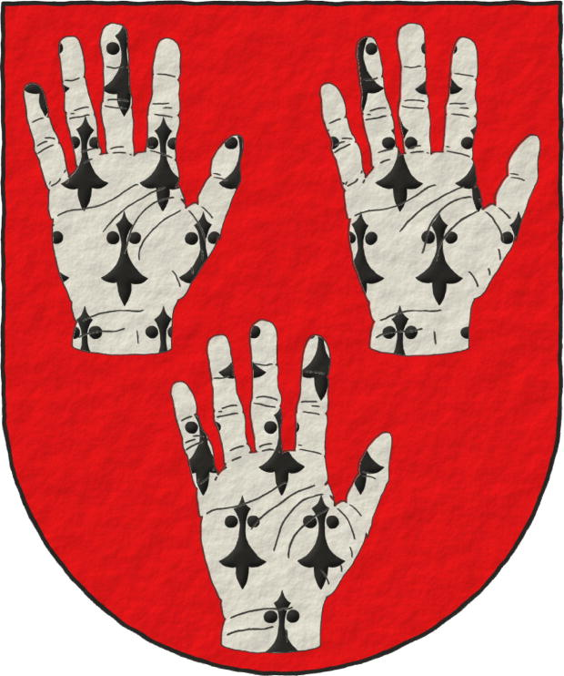 Gules, three Dexter hands Ermine, turned up, and appaumée.