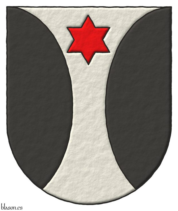 Argent, flanched in round Sable, Argent charged in chief of a mullet Gules.