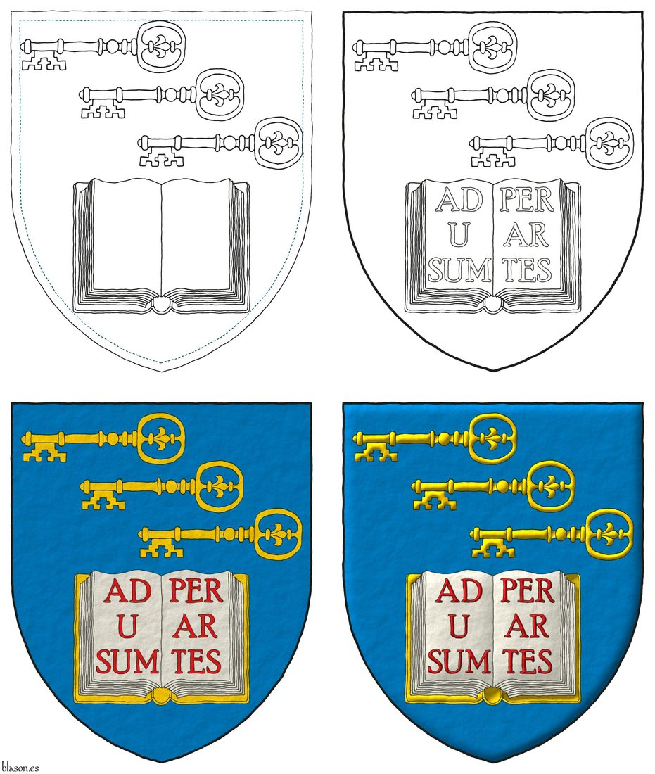 Azure, in chief three keys in bend, fesswise, to dexter, facing downwards Or, in base an open book Argent, garnished Or, the pages inscribed «Ad usum per artes» Gules.