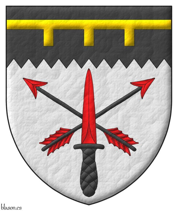 Argent, two arrows points upwards in saltire Sable, barbed and feathered Gules, surmounted of a commando dagger point upwards in pale Gules, hilted and pommelled Sable; on a chief indented Sable, a label of three points Or.