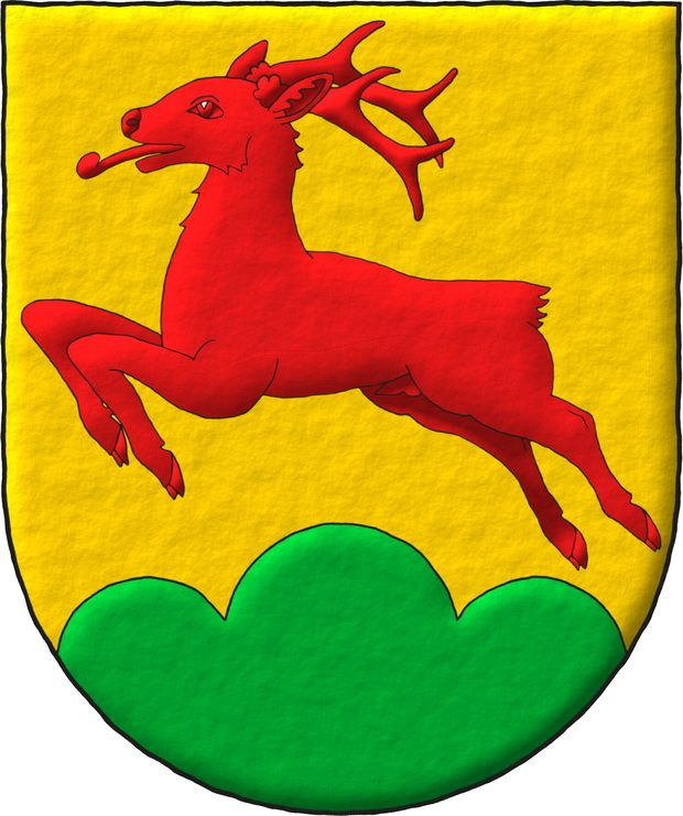 Or, a roe deer salient Gules, in base a triple mount Vert.