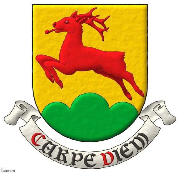 Or, a roe deer salient Gules, in base a triple mount Vert. Motto: «Carpe diem».