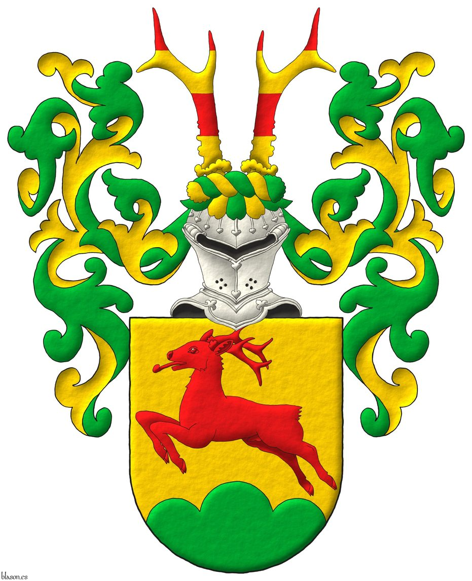 Or, a roe deer salient Gules, in base a triple mount Vert. Crest: Upon a helm affronty, with a wreath Or and Vert, two roe deers' attires barry of four Gules and Or. Mantling: Vert doubled Or..