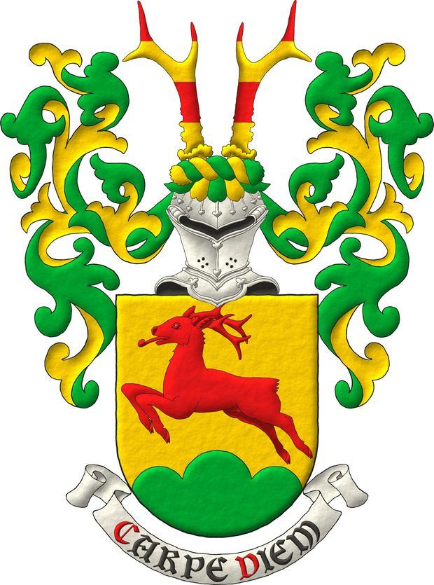 Or, a roe deer salient Gules, in base a triple mount Vert. Crest: Upon a helm affronty, with a wreath Or and Vert, two roe deers' attires barry of four Gules and Or. Mantling: Vert doubled Or.. Motto: «Carpe diem».
