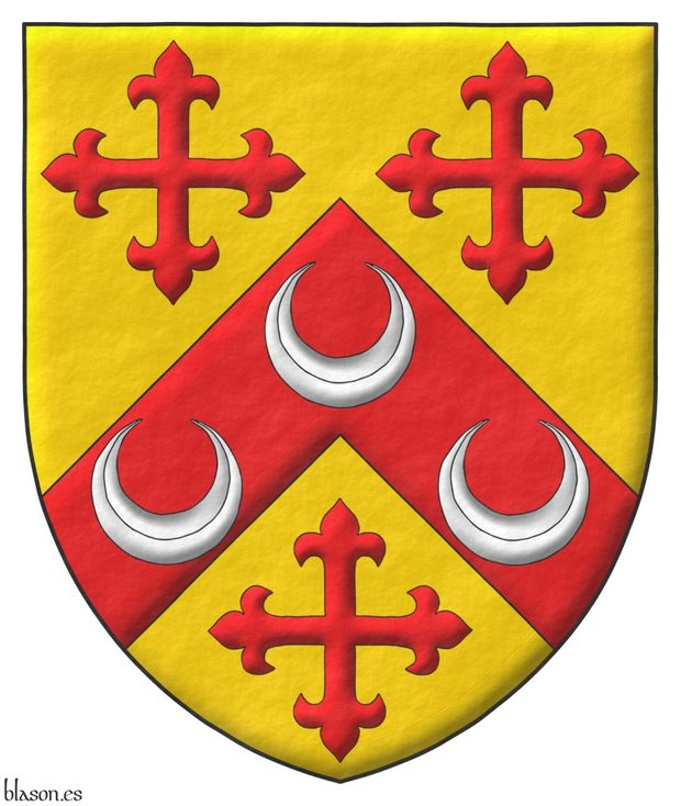 Or, on a Chevron between three Crosses flory Gules three Crescents Argent