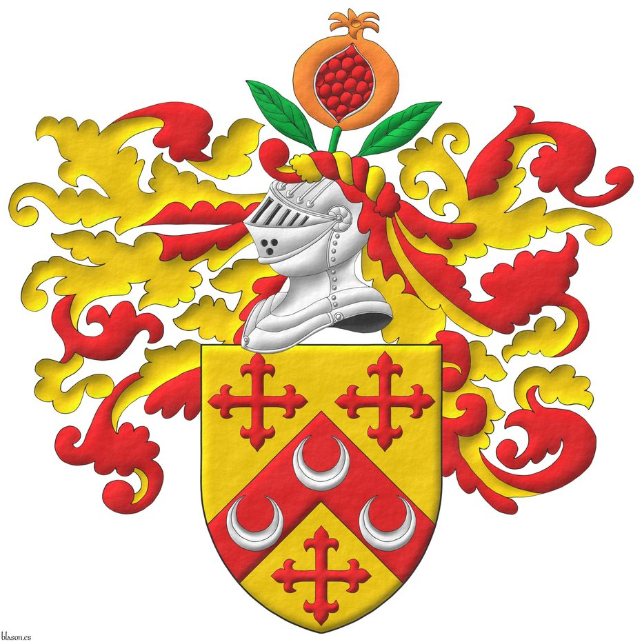 Or, on a chevron, between three crosses flory Gules, three crescents Argent. Crest: Upon a helm, with a wreath Or and Gules, a pomegranate Proper, seeded Gules, slipped and leaved Vert. Mantling: Gules doubled Or.