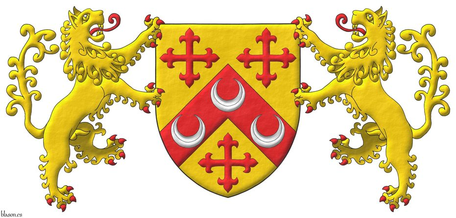 Or, on a chevron, between three crosses flory Gules, three crescents Argent. Supporters: Two Lions rampant Or, langued and armed Gules.