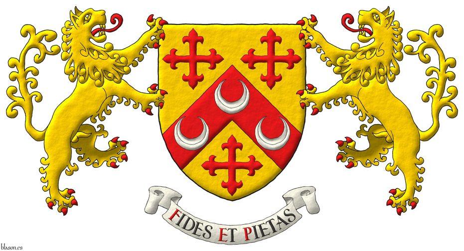 Escudo de oro, un cabrio de gules, cargado de tres crecientes de plata, acompañado de tres cruces flordelisadas de gules. Por soportes dos leones rampantes de oro, lampasados y armados de gules. Lema: «Fides et pietas».