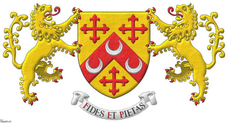 Or, on a chevron, between three crosses flory Gules, three crescents Argent. Supporters: Two Lions rampant Or, langued and armed Gules. Motto: «Fides et pietas».