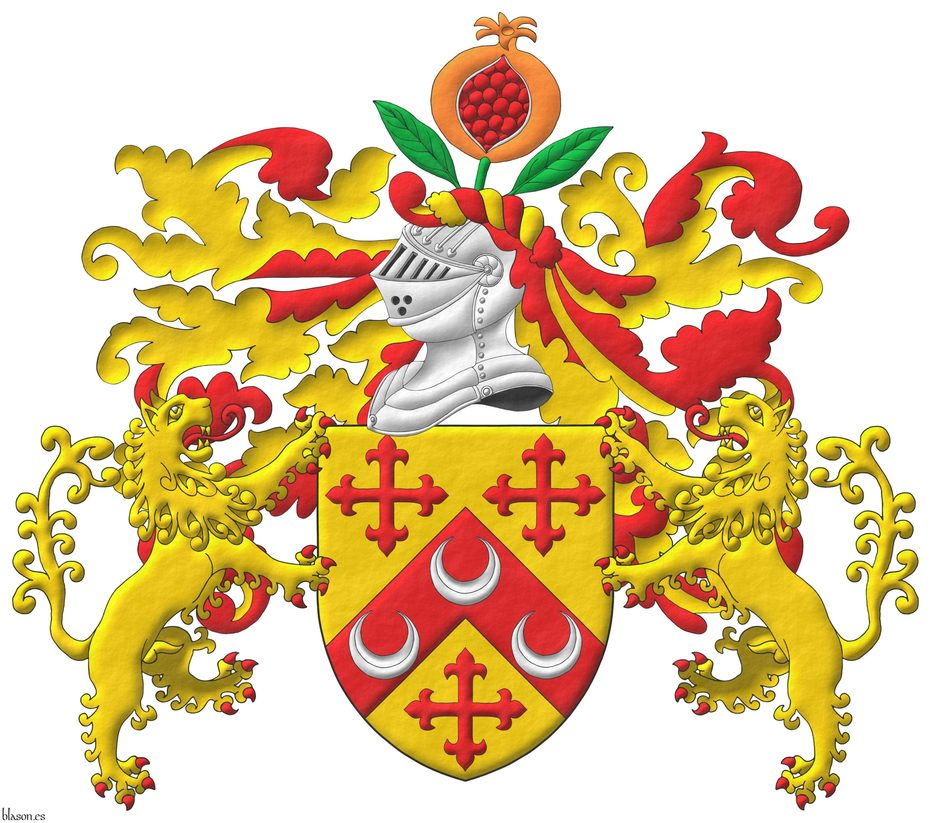 Or, on a chevron, between three crosses flory Gules, three crescents Argent. Crest: Upon a helm, with a wreath Or and Gules, a pomegranate Proper, seeded Gules, slipped and leaved Vert. Mantling: Gules doubled Or. Supporters: Two Lions rampant Or, langued and armed Gules.